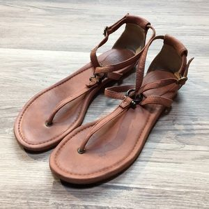 Frye Madison Strappy sandals, brown leather, sz 9